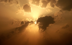 Sun casting orange rays